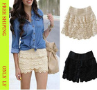 New Hot Sexy Fashion Cotton Crochet + Mercerized lining Mini Lace Tiered Short Skirt Under Safety Pants S M L XL Hot Selling(China (Mainland))