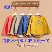 Plus velvet 100% cotton sweatshirt male female child clothing child baby winter autumn 2013