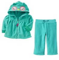 Retail baby girls long sleeve suit 100% cotton 2014 winter outfits owl blue 2-piece pant set children's clothing kids wear