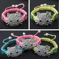 Birthday Gifts!Fashion Children Jewelry Crystal Beads Hello Kitty Shamballa Bracelet Bangle Kids Bracelet Wholesale Charms