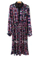2014 Mujeres Vestido,Pope Geo Chiffon Shirt Dress,Free shipping