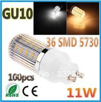 FEDEX DHL Free shipping 100x 5730SMD 36LED 11W GU10 E27 E14 B22 G9 110V/220V Corn Bulb Light Lamp LED Lighting Glass Cover