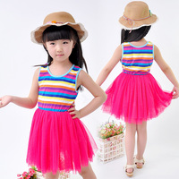 2014 new fashion girls summer rainbow striped princess vest cotton dress clothing