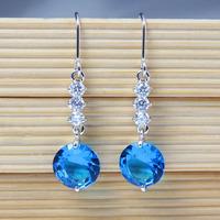 Fashion Emerald Dangle Earrings For Women High Quality Cubic Zircon Drop Earrings Sparking Party Jewelry 0682-1