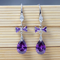 Wholesale Cubic Zirconia Crystal Teardrop Pendant Earrings 18K White Gold Plated Dangle Wedding Earrings Fashion 2014 0726-4