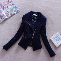 Women outerwear fashion cool british style oblique zipper elegant slim woolen blazer