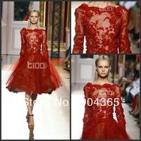 Elegant Newest 2014 Zuhair Murad Tulle Evening Dresses Gowns Dark Red Appliques Long Sleeve Short Prom Formal  Knee-Length Scoop