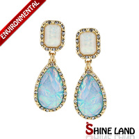 Free Shipping New Arrival Women Fashion Shiny Colorful Lucite Crystal Pear Shape Statement Drop Earrings Vintage Jewelry