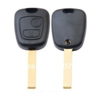 NO logo Remote Key Case Fob for 2 Button Peugeot and Citroen key; with hu83 grooved blade