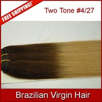 5a brazilian virgin human hair extensions two tone ombre color #4/27 silky straight queen hair products on sale 12-30 free ship