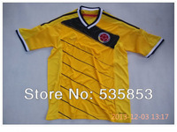 Free shipping! 2014 Brazil World CupThail Quality Colombia home yellow soccer jersey youth Colombia football training shirts