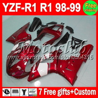 +7 gifts For 98-99 Red white YAMAHA YZF R1 YZF-R1 YZFR1 YZF1000 YZF 1000 MC98751 98 99 1998 1999 Dark red white Fairings Kits