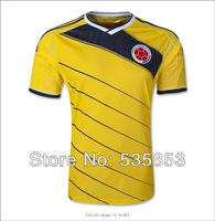 Free shipping! Best quality 2014 Brazil World Cup Colombia fans yellow soccer jersey home Colombia football man training shirts