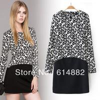2014 Fashion Geometry One-piece Dress Patchwork Elastic Slim Dress  Free Shipping