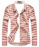 2014 new brand delicate slim fit Checked shirts for men,men's plaid long-sleeved shirts, orange,blue,freeshipping,M-XXL,CS30