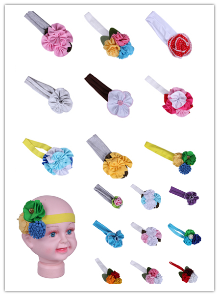 FREE SHIPPING New Fashion Floral Pattern Kids Hair Accessories Non-woven Fabrics Baby Hairband Headband With 18 Styles DOA(China (Mainland))