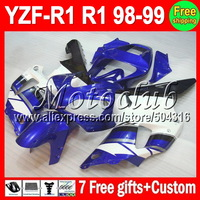 7gifts  For YAMAHA YZFR1 Blue white black 98 99 YZF R1 98-99 YZF-R1 MC98711 YZF1000 YZF 1000 1998 1999 Blue Full Fairing Kit