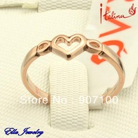 Italina Brand Delicate women's rings 18K Real Rose Gold Plated Heart Jewelries wholesale price