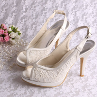 Free Shipping Dropship Bridal Shoes Lace Ivory Women Peep Toe Slingback Heels