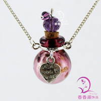 1pc Murano Glass Perfume Necklace Ball With Alloy Love Heart(Assorted Colors),Lampwork glass diffuser necklace pendant
