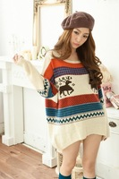 L0568, Free shipping new women's loose  round neck sweater, plus size  pullover sweater , deer pullover, wholesale