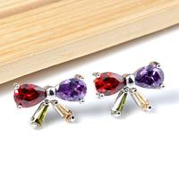 New 2014  High Quality Cubic Zirconia Stud Earrings Multicolor Butterfly Knot  Silver Earrings For Women