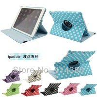 New arrival Polka Dot 360 degree Rotating Leather Case For Apple ipad Air , Stand Leather Cover For iPad 5 100pcs/lot