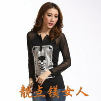 Free shipping! autumn women's fashion V-neck button patchwork basic shirt long-sleeve  t-shirt