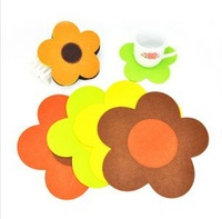 Free shipping 15X15cm Felt Lovely Sunflower Table Mat Cup Mat Sweet Cup Pad Coasters Cup Cushion Heat Mats 20pcs/lot