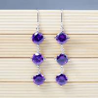 Wholesale White Gold Plated Long Topaz Earrings For Women  Cubic Zirconia Purple Earrings Top Quality Jewelry