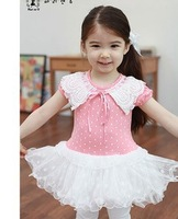2013 girls dress summer children's clothing lace collar wavelet point princess dress