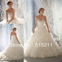 Luxury Beaded Sweetheart Organza Ruffles Ball Gown Wedding Dresses 2015 New Arrival Vestidos De Novia
