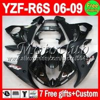 7 Free giftsFor YAMAHA ALL Black YZF-R6S 06 09  07 08 2007 2008 Flat Matte YZF R6S MC248 YZFR6S YZF-600 06-09 2006 2009  Fairing