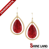 Free Shipping New Arrival Fashion Women Vintage Colorful Resin Simple Pear Shape Statement  Hook Earrings Jewelry