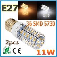 Free shipping 2x 5730SMD 36LED 11W E27 E14 B22 G9 GU10 110V/220V Corn Bulb Light Lamp LED Lighting Warm/Cool White Glass Cover
