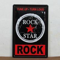 Music Zone Decor Tin Sign Metal Plate Tune Up Turn Loud Rock Star B-10