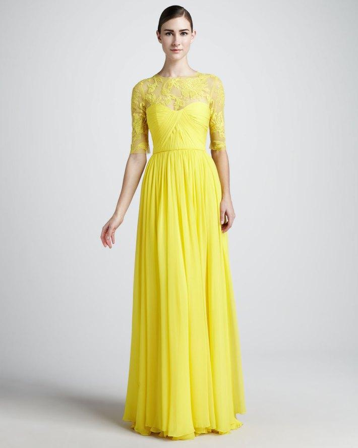 2013 best selling yellow lace chiffon modest long bridesmaid dresses