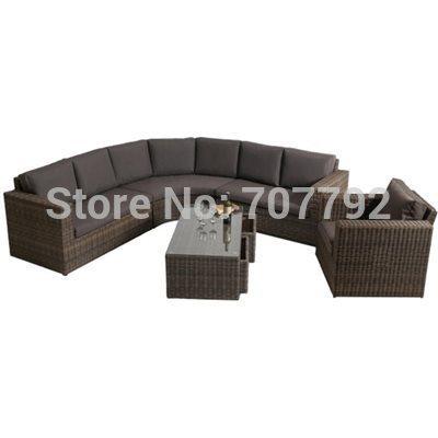 2015 New Leisure Curved Corner Poly Ratan Furniture All Weather Sofa Set(China (Mainland))
