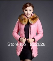 FREE SHIPPING ORIGINAL 2014 winter thick extra large fur collar down coat white duck feather women's medium-long down jacket