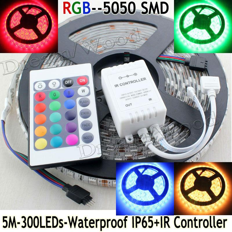 500cm 5M/Reel 5050 SMD RGB Waterproof IP65 Led Flexible Strip Light 300 Leds 24Key IR Remote Controller(China (Mainland))