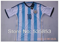 Free shipping!2014 Brazil World Cup Argentina player version 10#messi soccer jersey Argentina man 10#MESSI training shirts