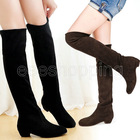 O075 Womens Ladies New Fashion Sexy Knee-high Long Boots Low Heel Winter Autumn Shoes Slip-on Leisure Black Brown Folding Casual(China (Mainland))