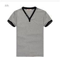 New high quality V-neck men' shirt solid color 3XL casual men's shirt short sleeve t-shirt men's tee t shirt men