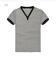 New high quality V-neck men' shirt solid color 3XL casual men's shirt short sleeve t-shirt men's tee t shirt men