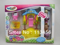 Free Shipping Vinyl Doll,LPS Littlest Pet Shop for Children,1 set=4pcs+Allowd Garden