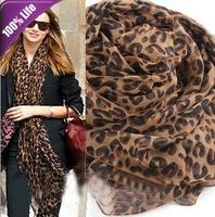 B503 Chiffon Coffee Leopard Long Scarves Shawl Fashion Women Scarf