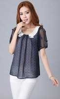 Polka Dot chiffon shirt 2013 summer new chiffon blouse fashion doll chiffon shirt polo Polka Dot