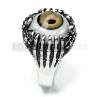 Free shipping!3pcs/LOT Skull Claw 316 Stainless Steel Charm Evil Eye Ball Ring MER142