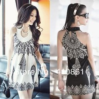 834 free shipping 2013 womens new fashion black white vintage totem print sleeveless dress ladies summer cute mini dresses