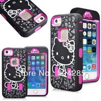 Free Shipping Fashion Case Hello Kitty High Impact Rugged Case for IP 5/5S
